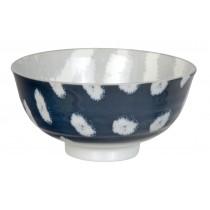 Kasuri - Bol de riz bleu foncé et rayures grises 11,2x5,5cm en porcelaine (par2)