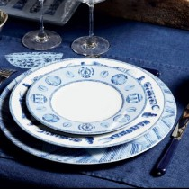 Calli - Assiette à dessert  bleue et blanche pinceaux ( par 2)