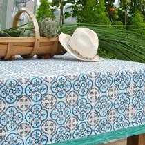 Old tiles - Nappe coton 270x170 cm bleu turquoise et blanche