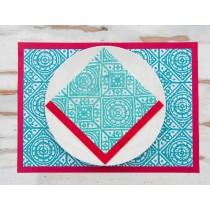 old tile serviette papier turquoise