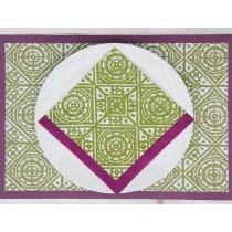 Old tiles-Serviette papier 20cm verte et blanche (par20)
