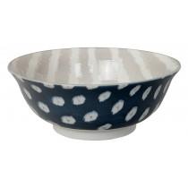 Kasuri - Saladier bleu foncé et rayures grises 20,8x8cm en porcelaine