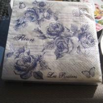 Rose - Set de 20 serviettes en papier roses bleues