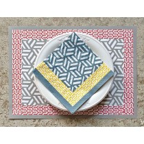 Fabiola -Serviette papier 20cm grise rouge et jaune (par20)
