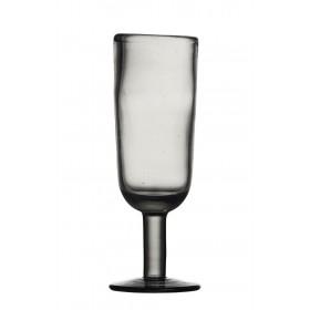 Moustier- Flute à champagne noir transparent fait main (par6)